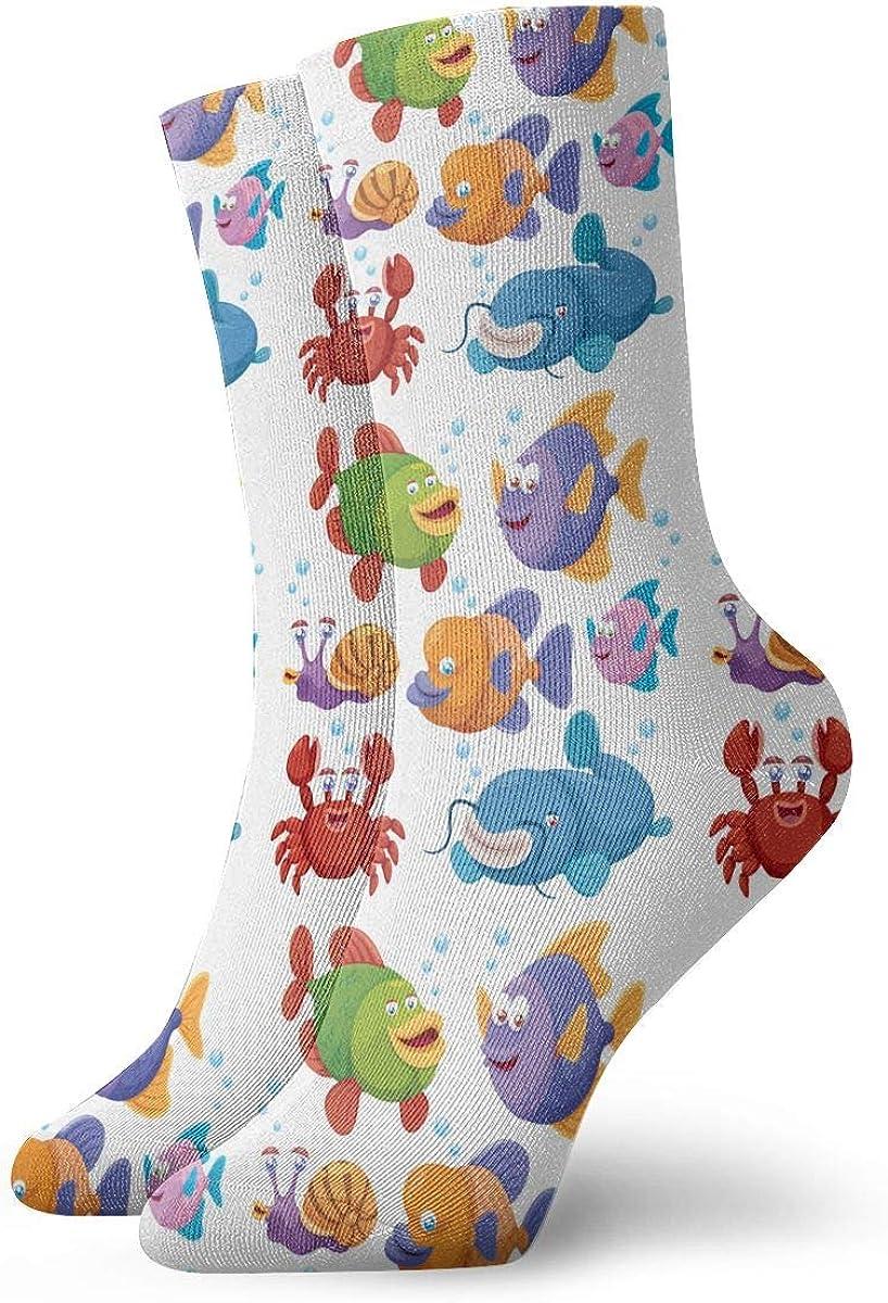 Mens Fashion Performance Polyester Socks Cute Fish Colorfuls Casual Athletic Crew Socks.