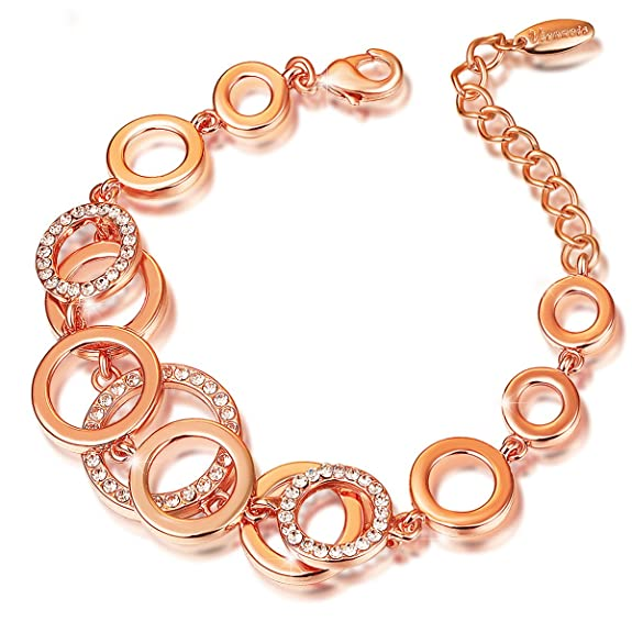 Pulsera de Oro Rosa 18k Plateado Cubic Zirconia https://amzn.to/2ON8T2e