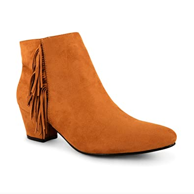 f0f514a9f1d0 Womens Ladies Faux Suede Low Heel Tassel Fringe Chelsea Ankle Cowboy Boots  Shoes