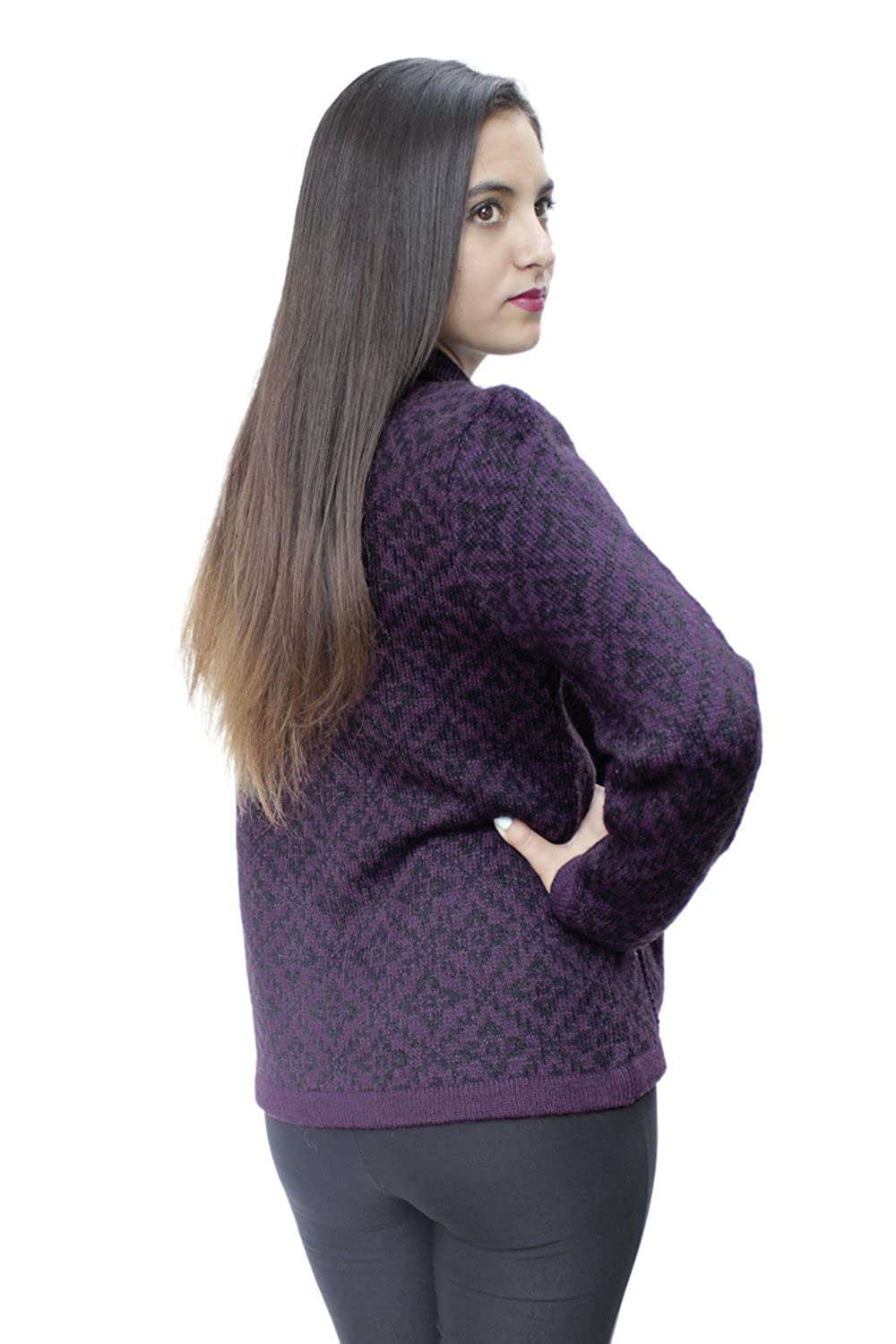 Womens Soft Alpaca Wool Four-Button Knitted Cardigan Short Coat Sweater - Special Design