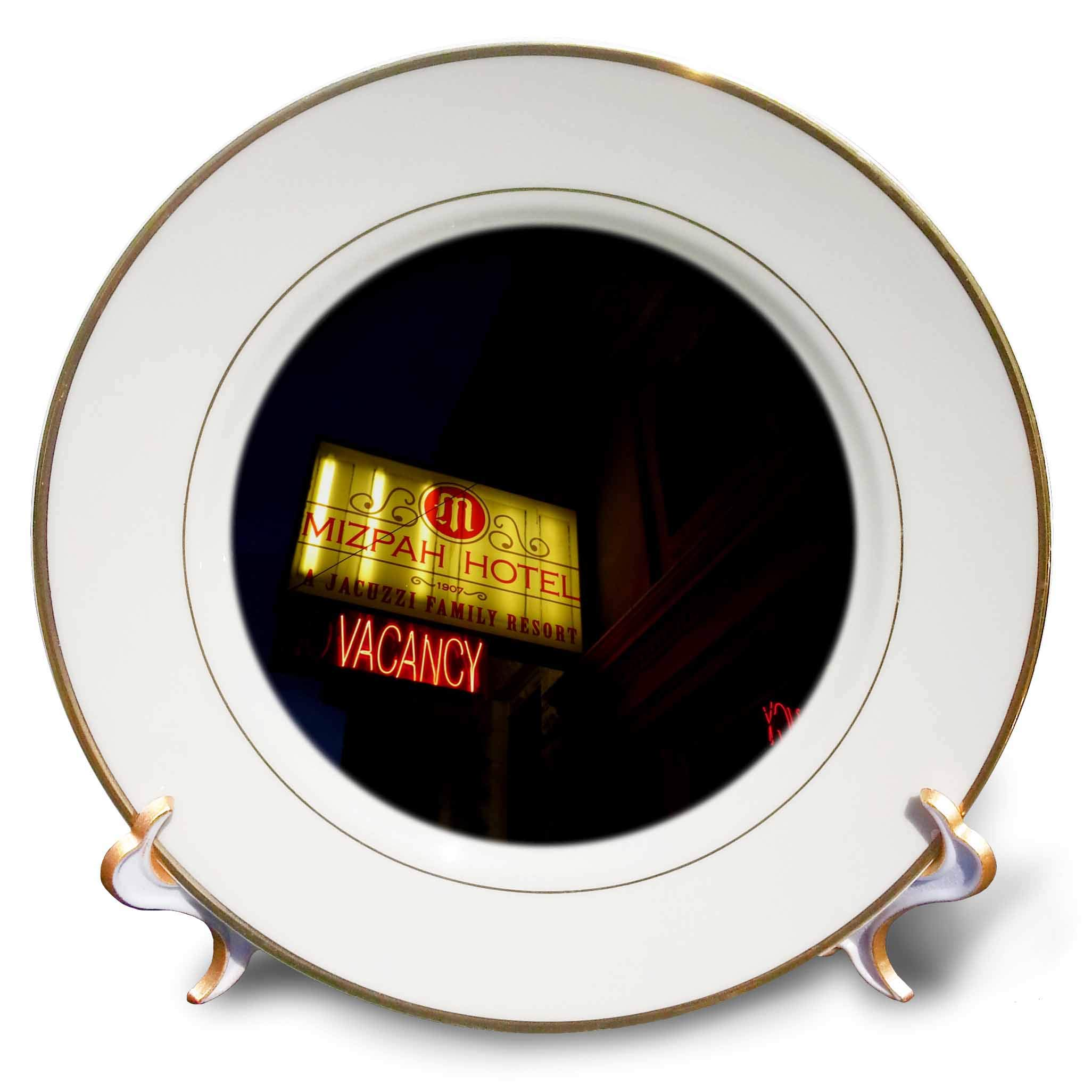 3dRose Jos Fauxtographee- Mizpah Vacancy - A Sign in The Evening That says Mizpah Vacancy lit up - 8 inch Porcelain Plate (cp_291368_1)