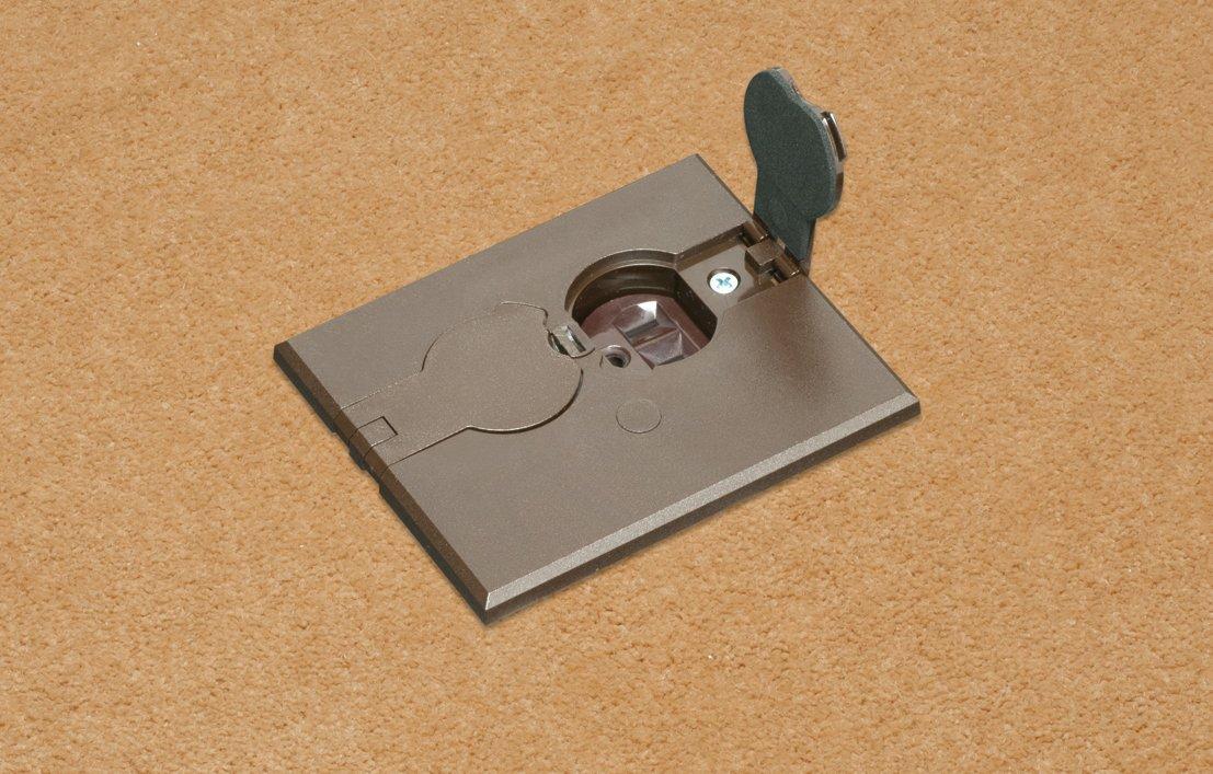 Arlington FLBAF101BR-1 Adjustable Floor Box Kit with Outlet and Flip Plate, for Installed Floors, 1-Gang, Brown, 1-Pack