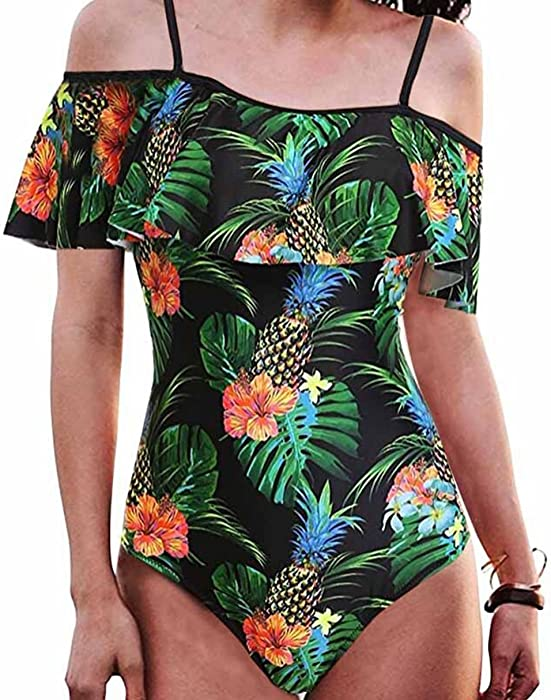 d7b33123d5901 tengweng Women s Off Shoulder One Piece Flounce Swimsuit Pineapple Print  Swimwear S Black
