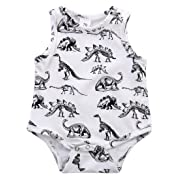 Infant Baby Girl Boy Clothes Dinosaurs Bodysuit Romper Playsuit Outfits (6-12 Months, White)