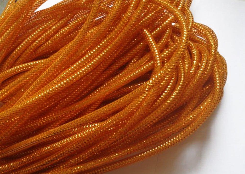 YYCRAFT One Roll 30 Yards Solid Mesh Tube Deco Flex for Wreaths Cyberlox Crin Crafts 8mm 3/8-Inch (All Orange)