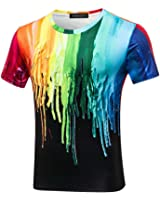 Rxbc2011 Men's 3D Printed Rainbow Watercolor Paint Short Sleeve T-shirt