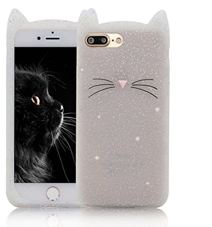 new styles 7a755 34dda ae mobile accessorize 3D Silicone Cute Cat Case Cover for iPhone(White)