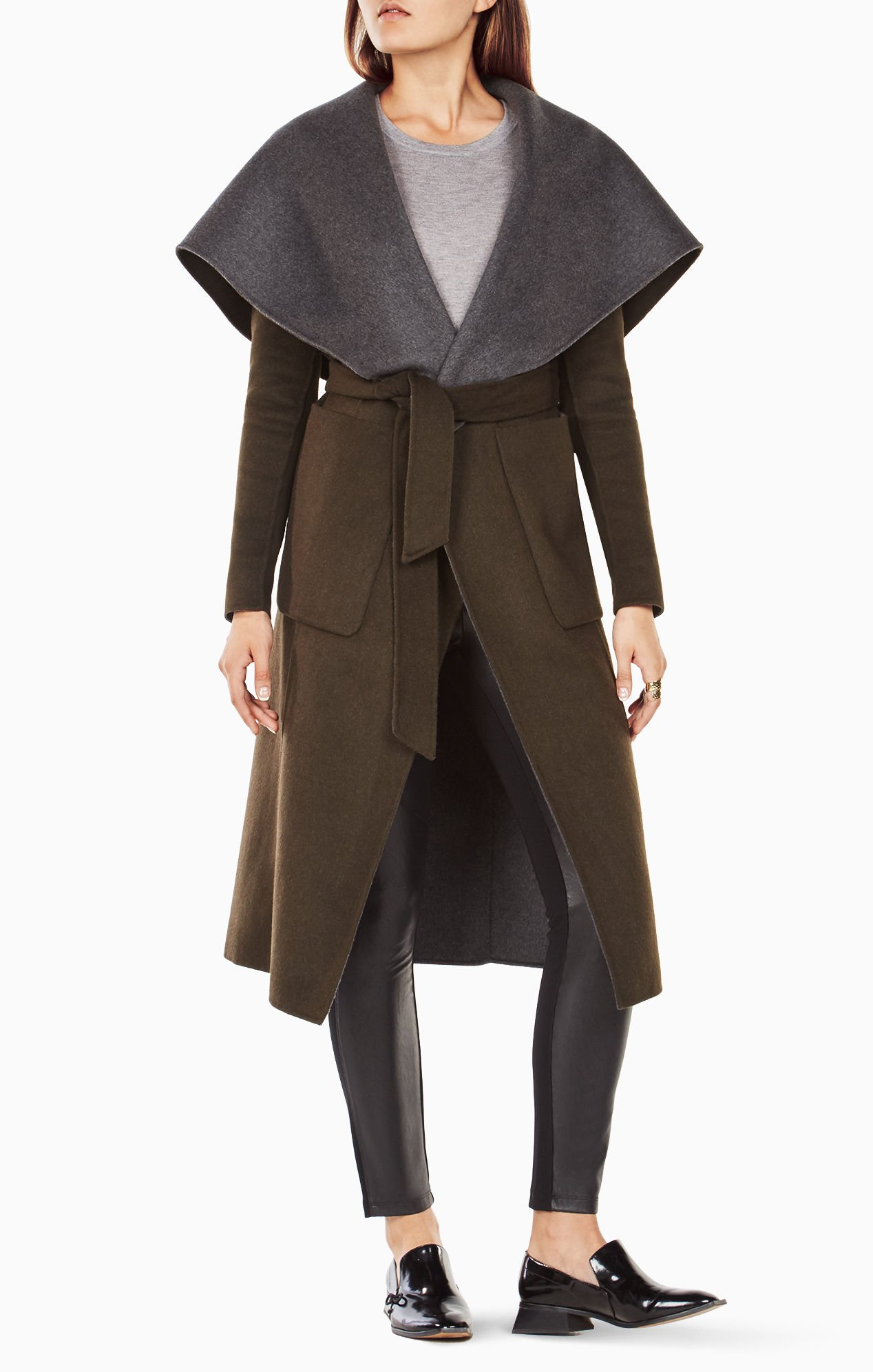 BCBGMaxazria Chandler Olive Green Long Wool Hooded Coat (XS)