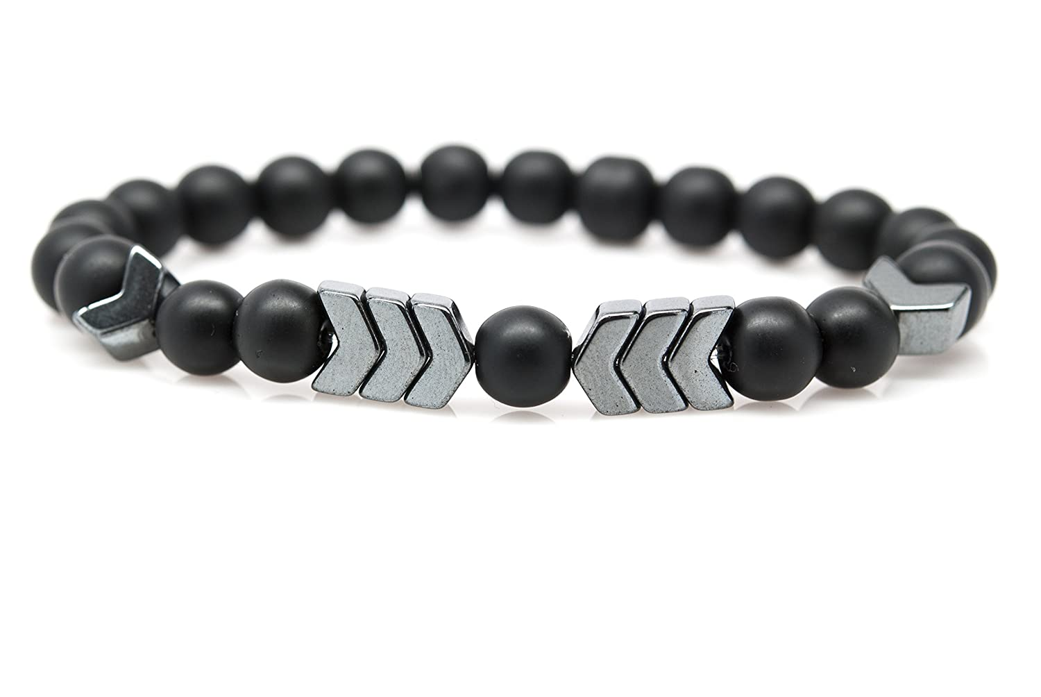 for Chakra Healing and Balancing fits Men and Women 7 inch Orti Jewelry Wrist Beads Semiprecious Stone Bracelet Adds Boho Charm to Any Outfit Real Matte Onyx and Hematite Gemstones by
