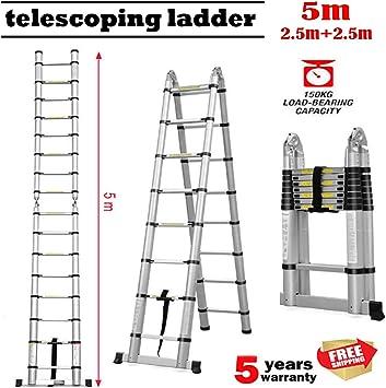 Escalera telescópica de aluminio plegable de 2 x 8 peldaños, multiusos, para uso en el hogar, en el techo, actividades al aire libre, escaleras de alta resistencia para 330 libras: Amazon.es: Bricolaje