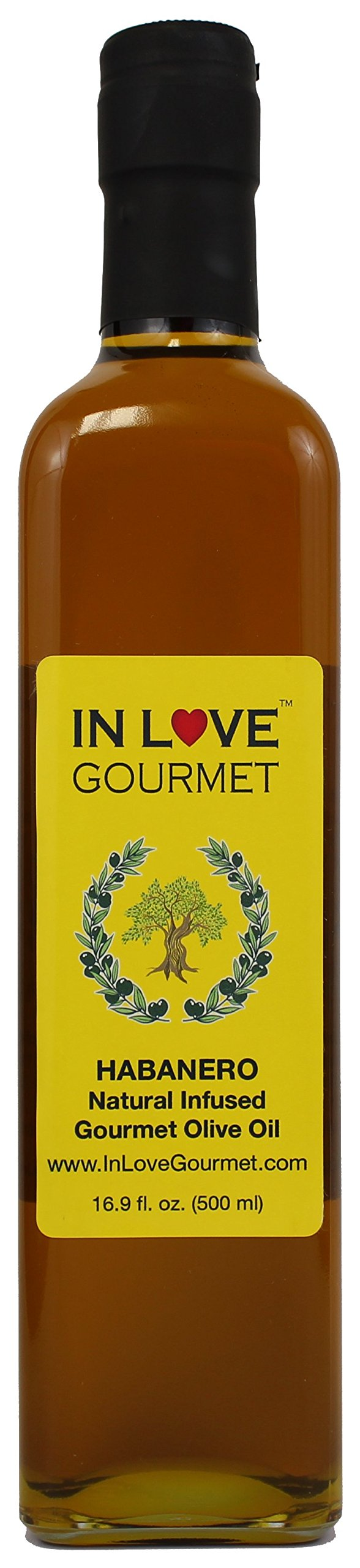 In Love Gourmet Habanero Natural Flavor Infused Olive Oil 500ML/16.9oz Spicy Habanero Oil, Spice up your Fish, Chicken, Veggies, Pastas.