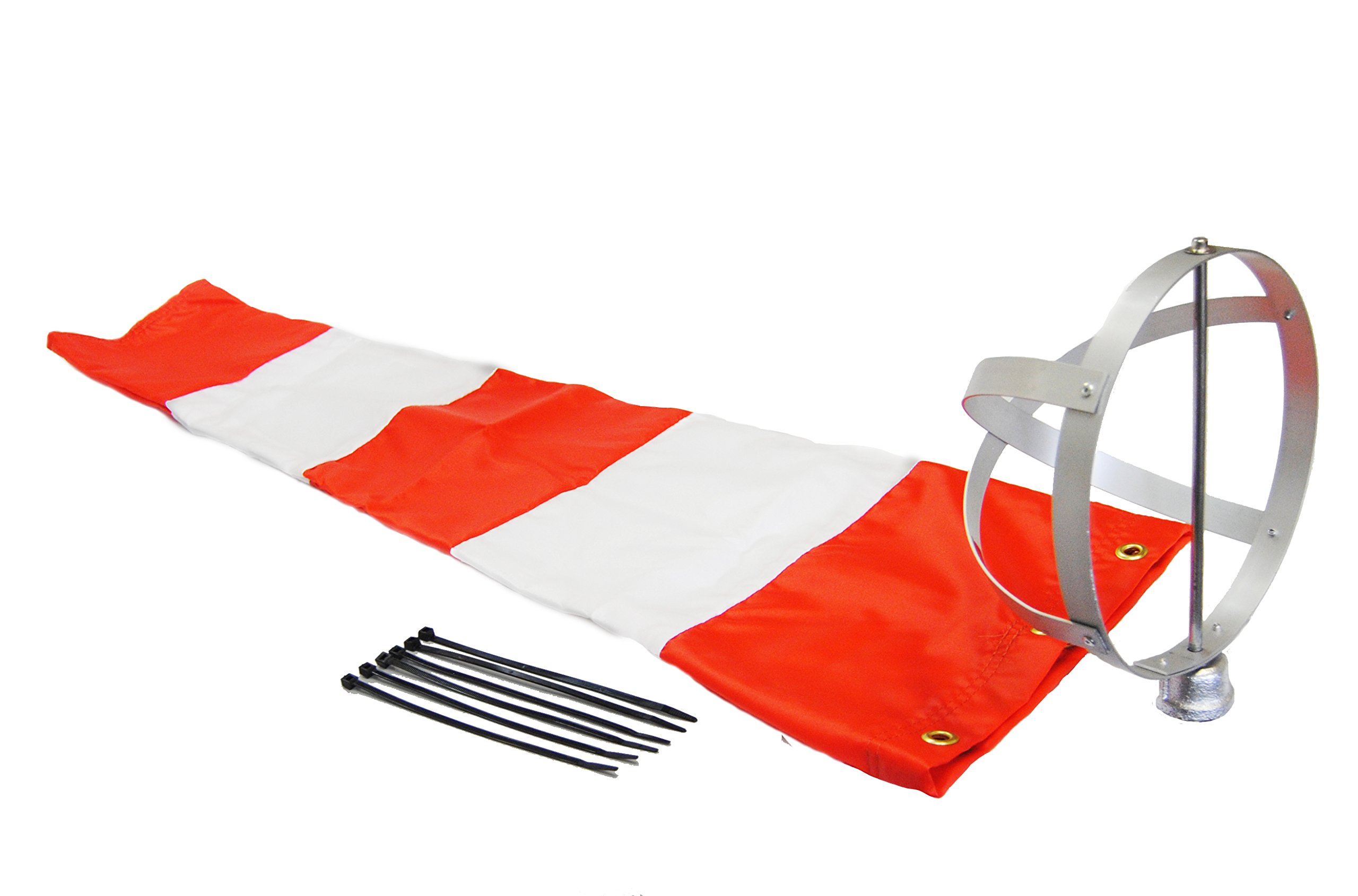 Airport Windsock Corporation 8'' X 36'' Orange and White Windsock and 8'' Aluminum Frame Combo USA Made