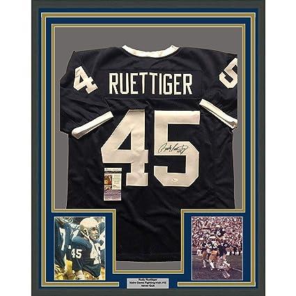 Framed Autographed Signed Rudy Ruettiger 33x42 Notre Dame Fighting Irish  Blue College Football Jersey JSA 7bb5bd889