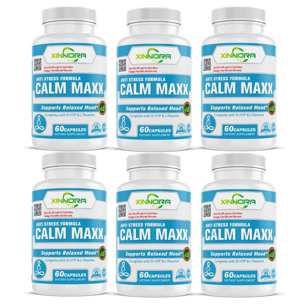 XINNORA Calm Maxx - Relaxed Mood Formula Men & Women - Natural Anxiety Relief Supplement - Supports Relaxed Mood, Anti-Anxiety, Stress Relief - 5-HTP, L-Theanine, Rhodiola, Ashwagandha 60Caps x 6 BTL