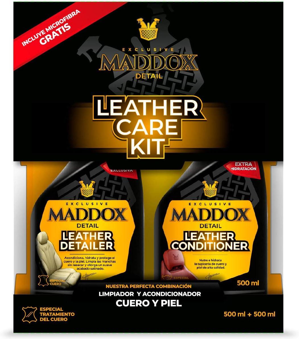 Maddox Detail - Leather Care Kit - Limpiador y acondicionador de cuero y piel. Incluye microfibra gratis.