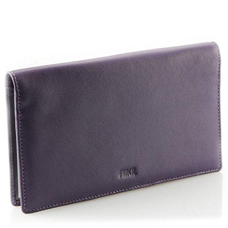 Fancil - Porte-ché quier tout-en-un en cuir violet