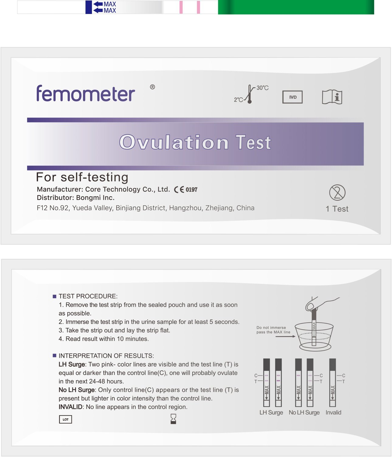 Femometer 20 Ovulation Test Strips Kit with 20 Urine Cup (20LH) with App (iOS & Android) Automatically Recognizing Test Results by BONGMI (Image #4)