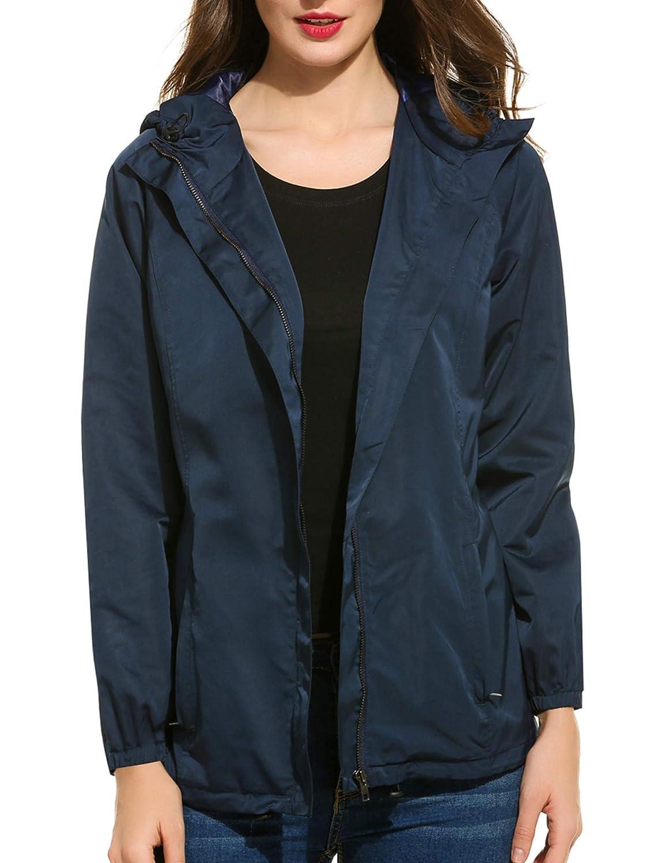 A_dark bluee EASTHER Women's Waterproof Raincoat Lightweight Hooded Rain Jacket Windbreaker