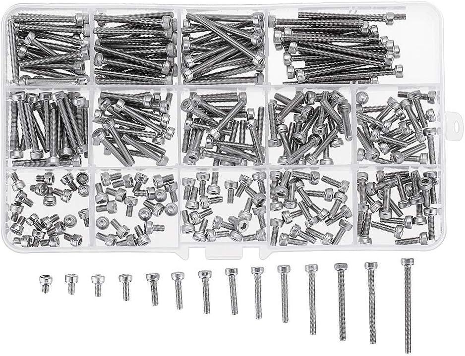 Aohi WXQ-XQ 280Pcs M3 304 Stainless Steel Hex Socket Cap Head Screw Bolts Assortment Set