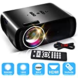 1800 Lumens LCD Video Projector, Konomio Multimedia Home Theater Movie Portable Mini Video Projectors Support HD 1080P HDMI,USB,SD Card,VGA,AV for Home Cinema,TVs,Laptops,PS4,XBOX,Games,Smartphones