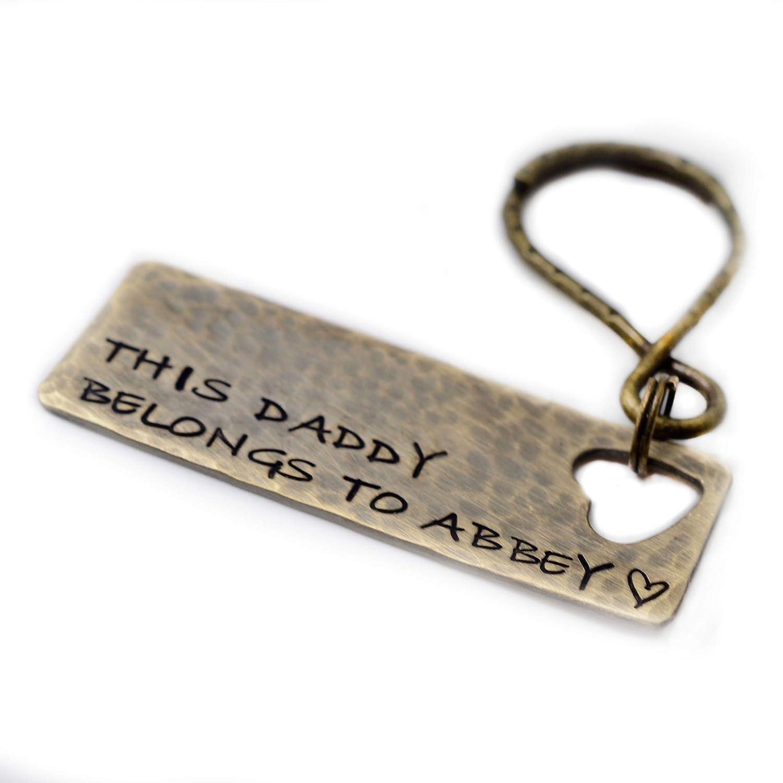 Hand Stamped Keychain Personalized Keychain Dad Keychain Established Keychain Gift For Dad Daddy Keychain New Dad Keychain