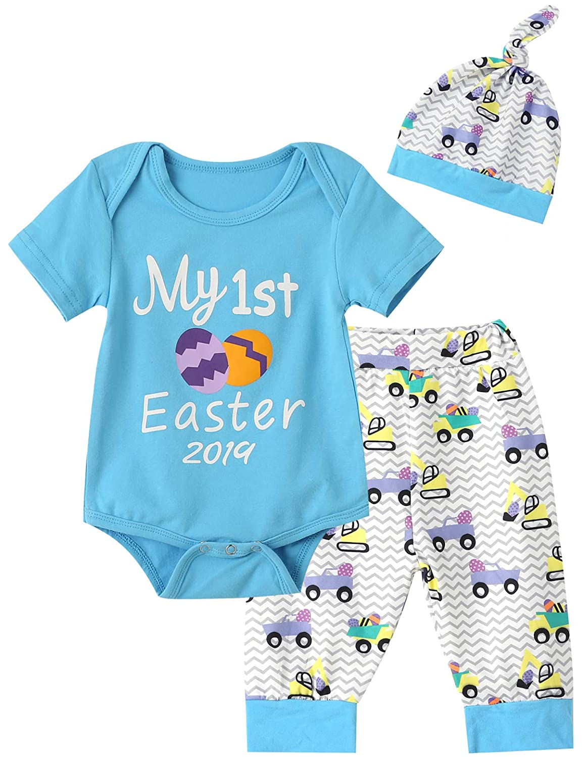 18745b5a9fd8 Amazon.com: Truly One Baby Boys Girls My First Easter Gift Eggs Printed  Bodysuit Pants with Hat: Clothing