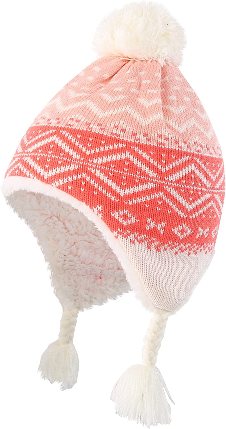 Decentron Toddler Girls Knit Kids Hat with Earflap Sherpa Lined Warm Winter Hats