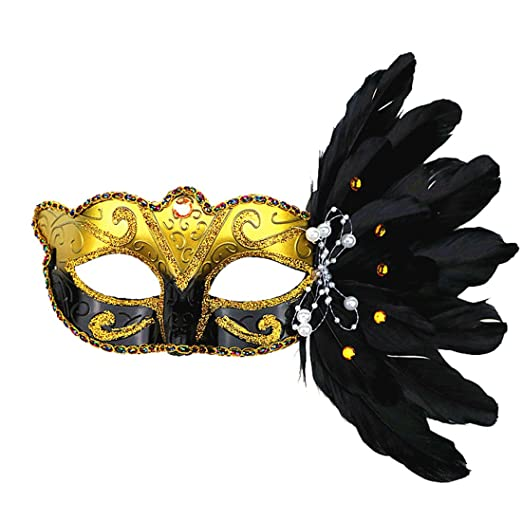 amazon com women feather colored drawing venetian mask mardi gras