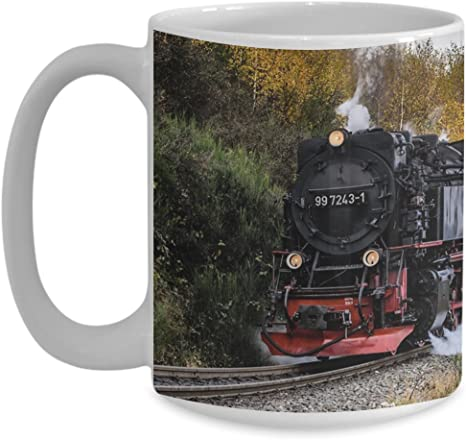 Railroad Steam Locomotive Mug 11 Or 15 Oz Coffee Or Tea Cup For Train Lovers Kitchen Dining