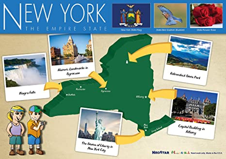 Amazon.com: Kids New York and US Map Laminated Placemat ...