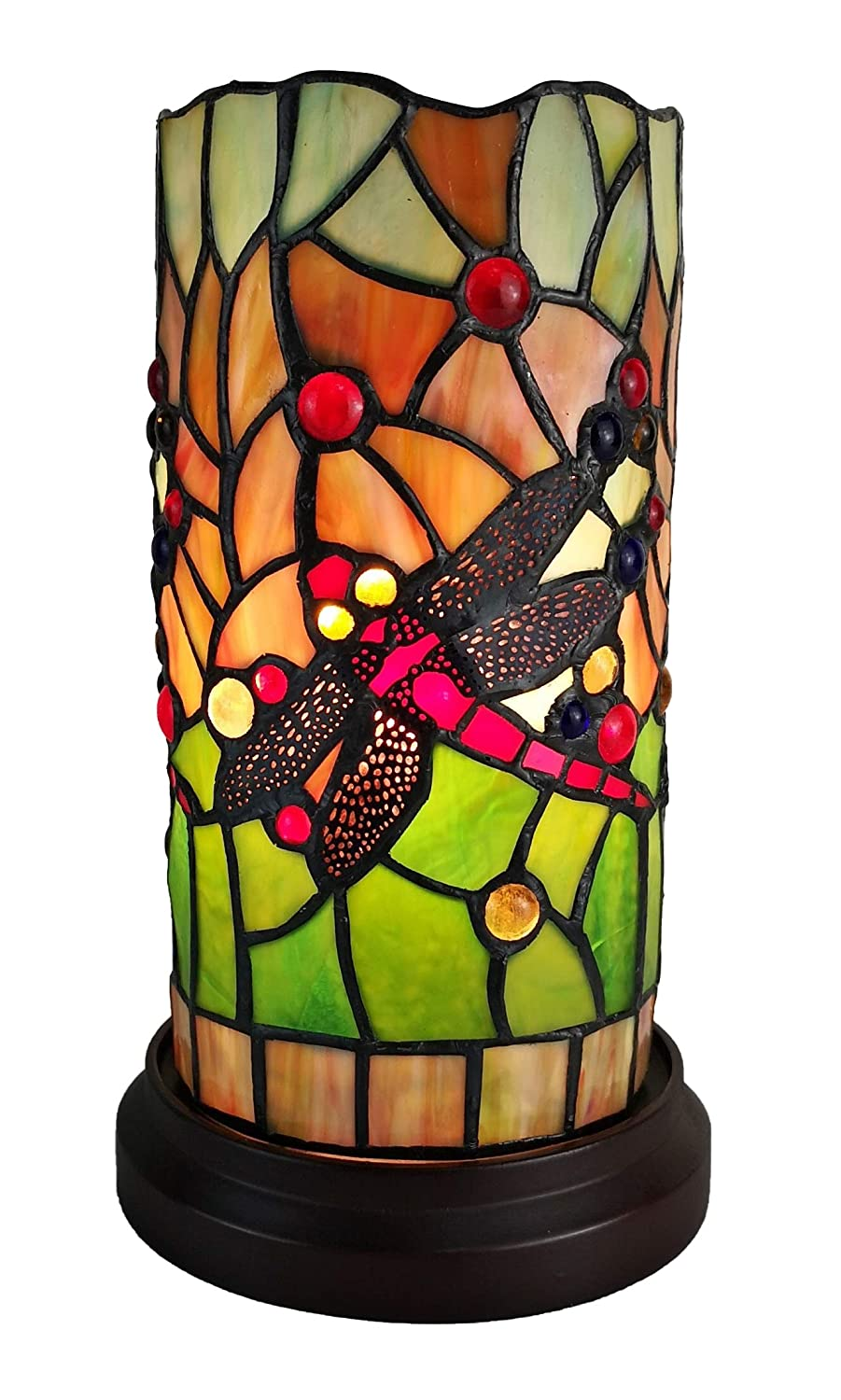 "Amora Lighting Tiffany Style Accent Lamp 10"" Tall Stained Glass Yellow Red Dragonfly Floral Vintage Antique Light Decor Nightstand Living Room Bedroom Gift AM1015ACCB, Multicolor"