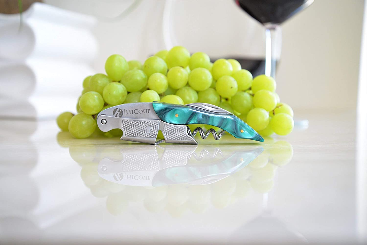 The Favored Choice of Sommeliers Jade Resin Handle All-in-one Corkscrew Renewed Professional Waiter/'s Corkscrew by HiCoup Waiters and Bartenders Around The World Bottle Opener and Foil Cutter