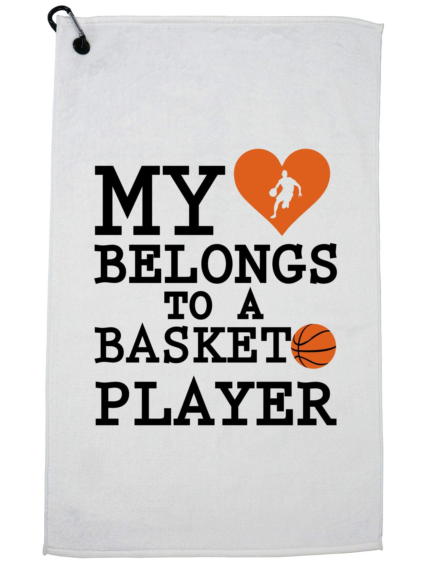 Hollywood Thread My Heart Belongs to A Basketball Player Golf Towel with Carabiner Clip by Hollywood Thread