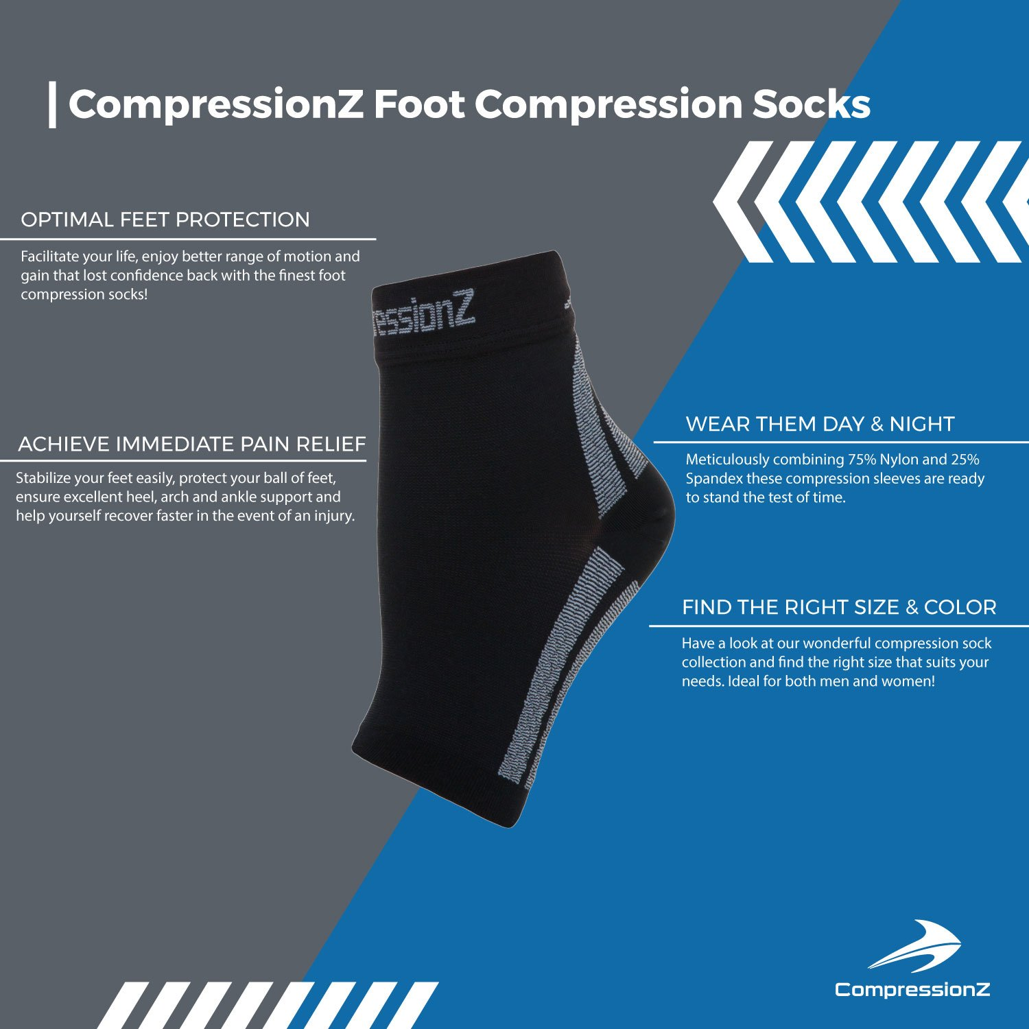 6a61827c2 Amazon.com  CompressionZ Plantar Fasciitis Socks - Compression Foot Sleeves  - Ankle Brace w Arch Support - Pain Relief for Heel Spurs