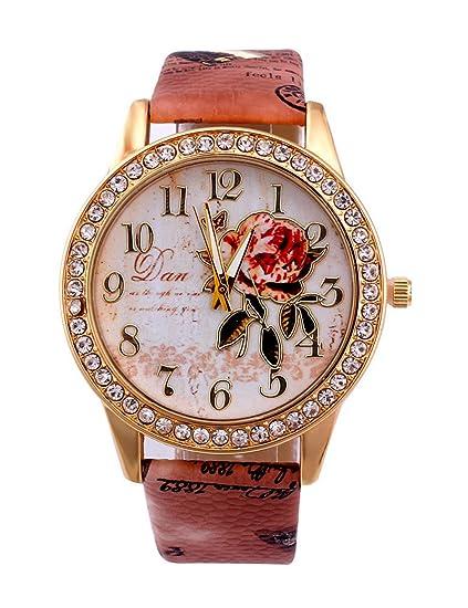 Para mujer de flores relojes, poto jy-81 2017 nueva moda mujer flor piel analógica reloj de cuarzo regalo: Amazon.es: Relojes
