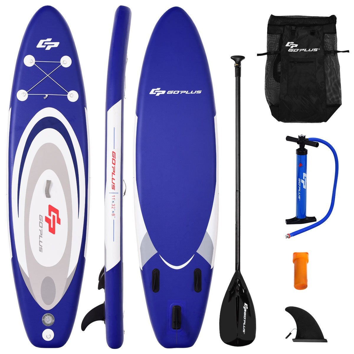 Goplus Inflatable Stand up Paddle Board Surfboard SUP Board with Adjustable Paddle Carry Bag Manual Pump Repair Kit Removable Fin for All Skill Levels, 6'' Thick (Navy, 11 FT)