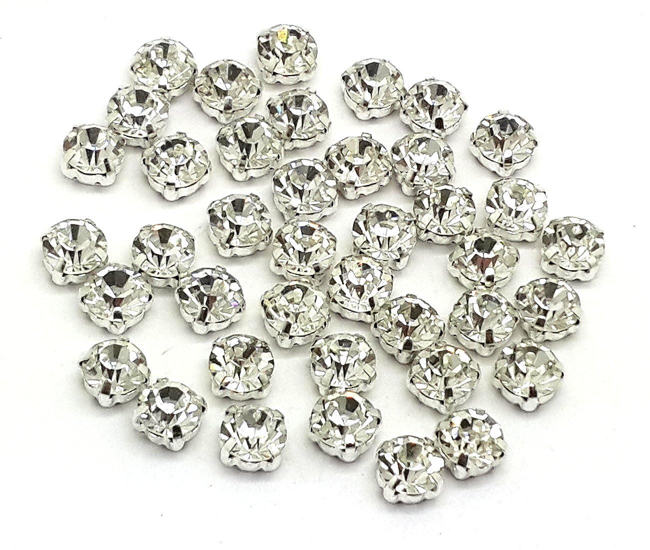 EIMASS Strass in vetro con fondo piatto da cucire o incollare - 100 pezzi con incastonatura argento e oro - ss16 (3.8-4mm), Cristallo trasparente - incastonatura argento