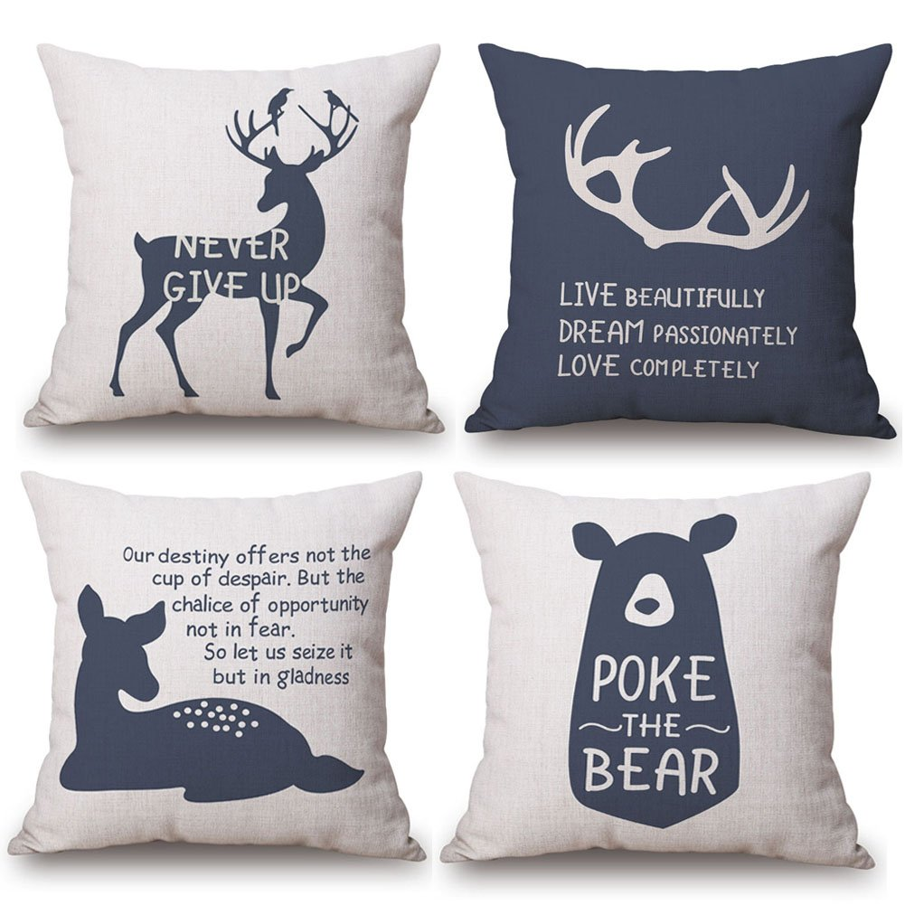 KACOPOL Woodland Style Lovely Animal Deer Elk Bear & Inspirational Quote Throw Pillow Cover Cotton Linen Rustic Nursery Home Decor Pillow Case Cushion Cover 18x18 Inches (Animals & Quotes)