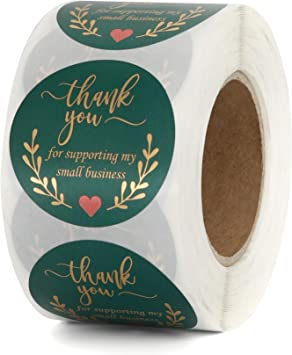 Amazon Com Thank You Stickers Roll 1 5 Inch Thank You For Supporting My Small Business Stickers Retro Green With Gold Foil Design 500 Labels Per Roll Ideal For Business Gift Bags