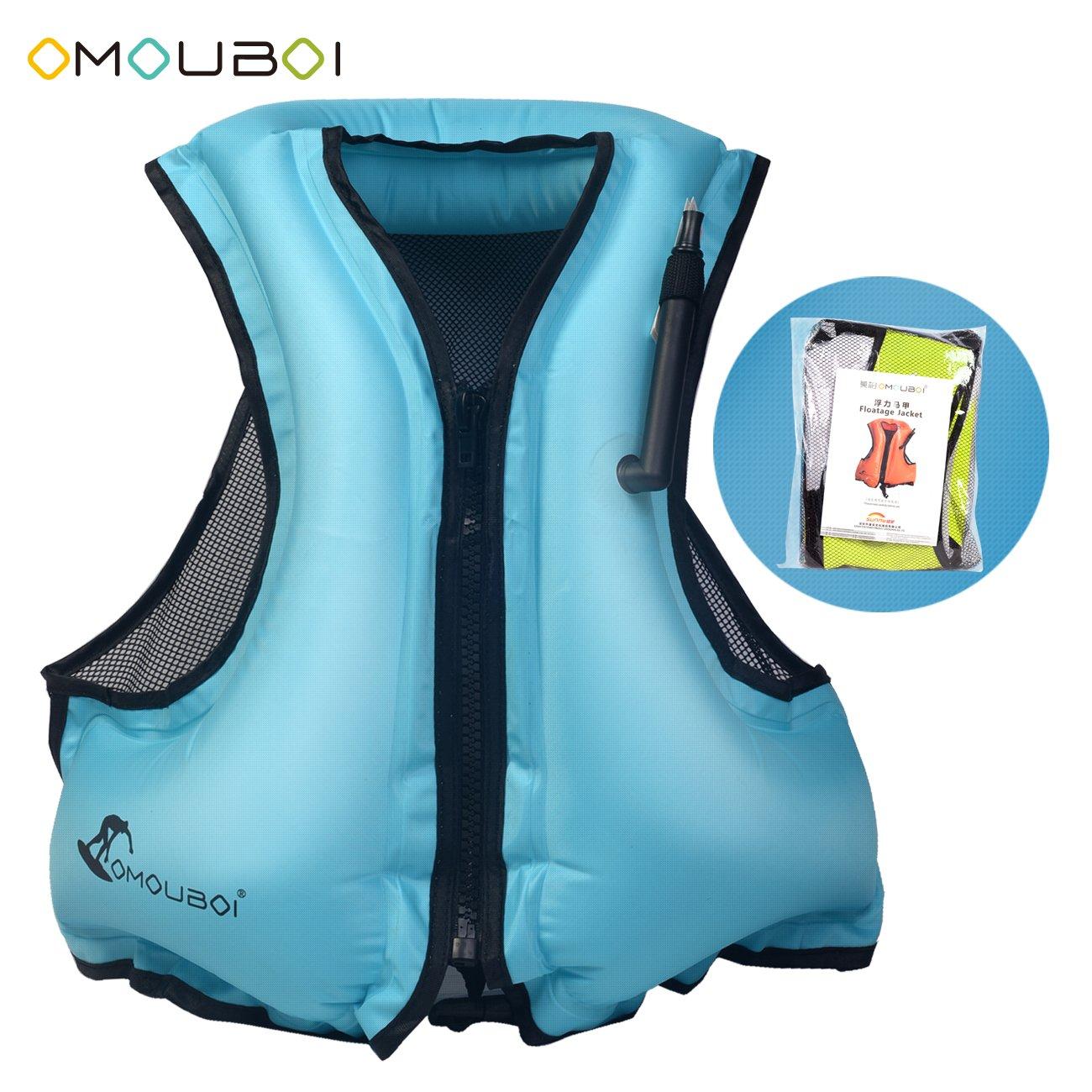 OMOUBOI 空気注入式ライフジャケット 大人用 シュノーケルベスト ライフベスト 水泳&ダイビング用 80~220ポンド B07GHDJB5T ブルー  ブルー