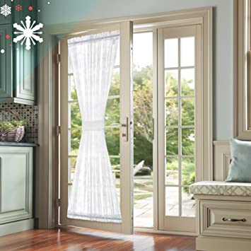 french door panel curtains for living room snow white sheer curtains 72 inches long holiday special - Door Panel Curtains