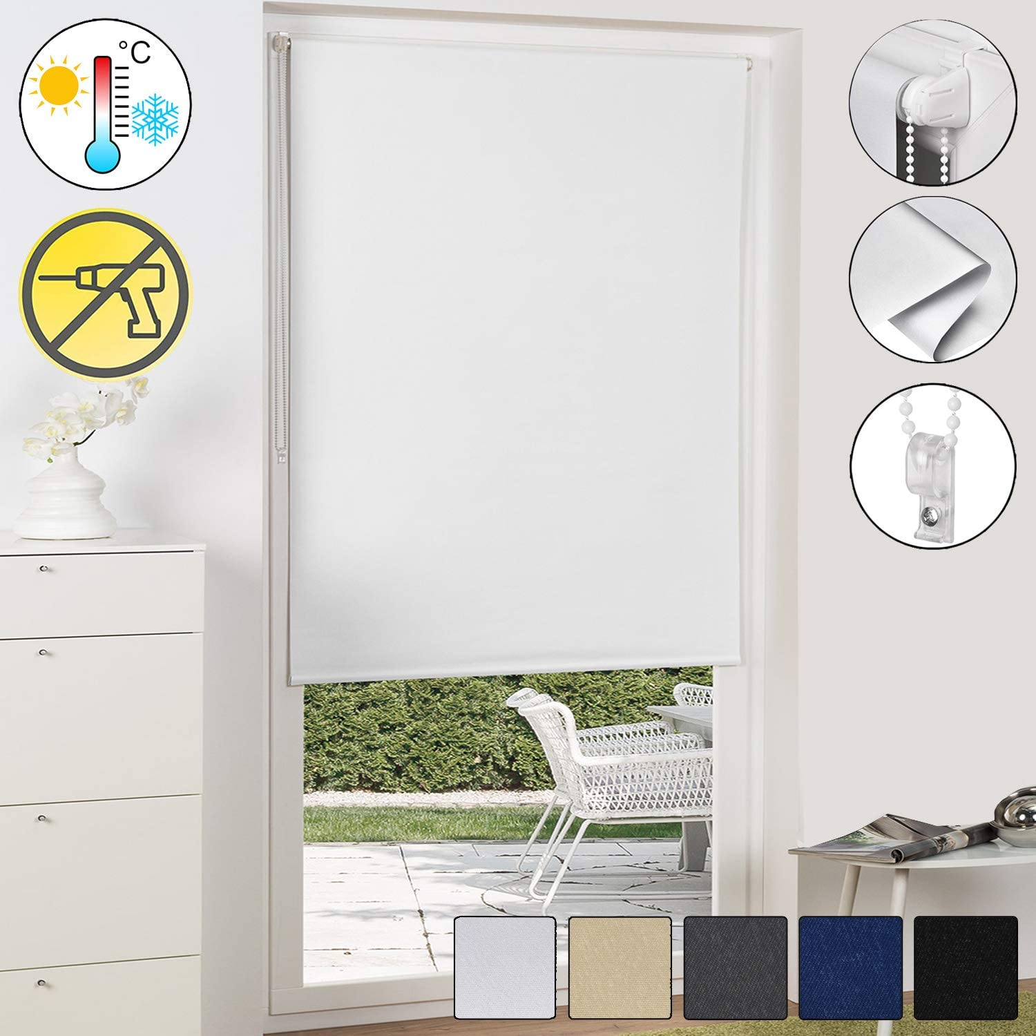 Sol Royal Sol Reflect T42 Persiana térmica Opaca Estor/Cortina Enrollable KLEMMFIX fijación fácil 90 x 210 cm Blanco: Amazon.es: Hogar