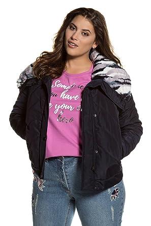 ff3d90aa9f Studio Untold Women s Plus Size Animal Print Faux Fur Quilted Jacket Dark  Blue 20 713249 79