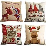 Gspirit Feliz Navidad 4 Pack Encantador Papá Noel Alce Algodón Lino Throw Pillow Case Funda de Almohada para Cojín 45x45…