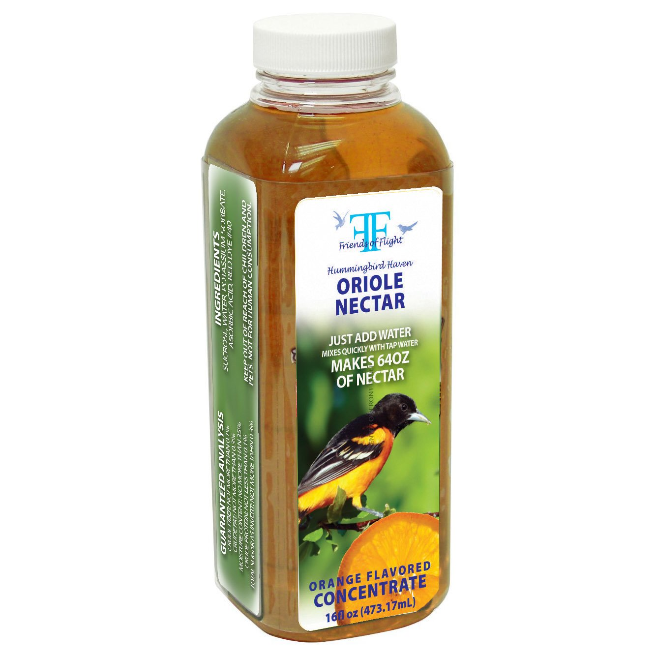 Friends Of Flight Haven 028982 Liquid Oriole Nectar Concentrate, Orange, 16-Ounce