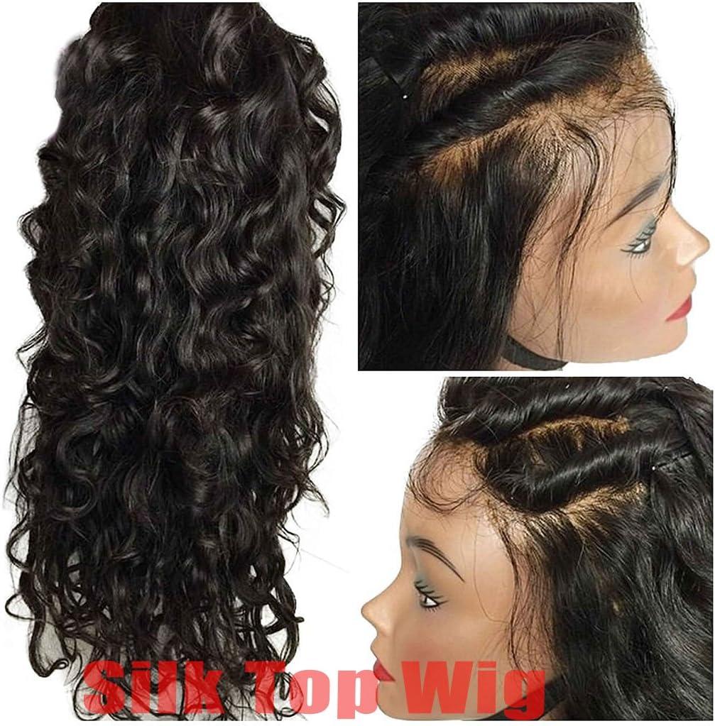 Helene Hair Onda natural 4x4 Silk Top Lace Wigs Cabello Virgen Brasileño Pelucas delanteras del cordón con el pelo del bebé 130% Densidad ( 8