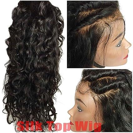 Helene Hair Onda natural 4x4 Silk Top Lace Wigs Cabello Virgen Brasileño Pelucas llenas del cordón