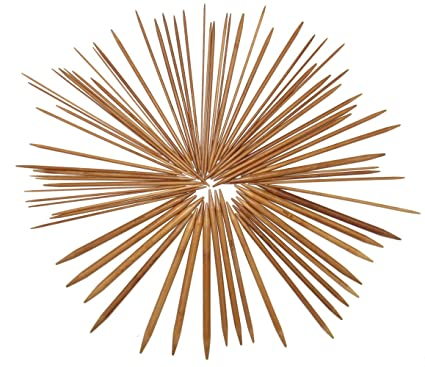 20cm 2.0mm - 10.0mm Ostart 5 Sets of 15 Sizes 8 Double Pointed Carbonized Bamboo Knitting Kits Needles Set