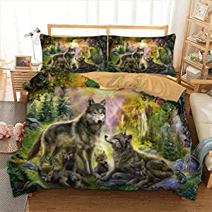Goodidea Wolf Family in Forest Duvet Cover Set, Nature Animal Print Bedding Decorative Quilt Cover with Hidden Zipper Corner Ties, King 3 Pieces, No Comforter