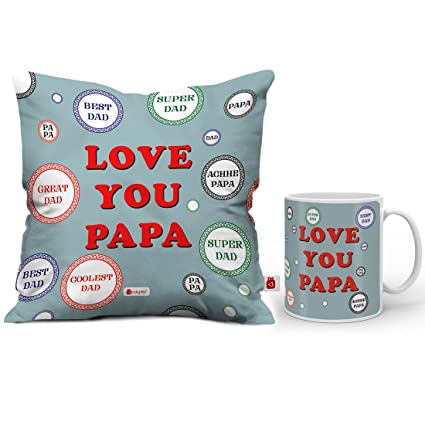 Indigifts Papa Gifts Birthday Love You Quote Print Coffee Mug Cushion Cover 12x12 Inches